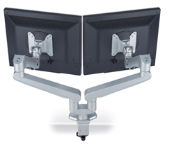 Twin Monitor Arm to help prevent neck pain and back pain