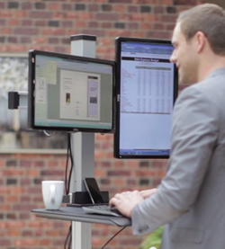 Stand up desk with rotating monitor mounts