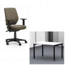 Silver Homeworkers Package - Ergo Hex Chair and Mobel Height Adjustable Desk