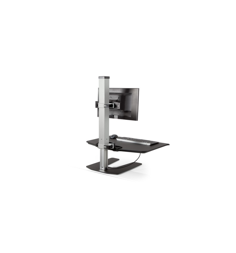 stand up monitor station sit stand station for fixed height desk. Black Bedroom Furniture Sets. Home Design Ideas