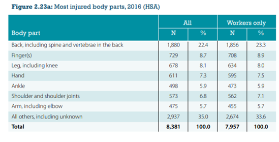most injured body parts hsa