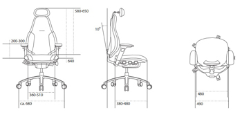 RH Mereo Ergonomic Task Chair HB Dimensions