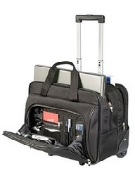 Laptop Bag on wheels with compartments for phone, pens accessories and clothes