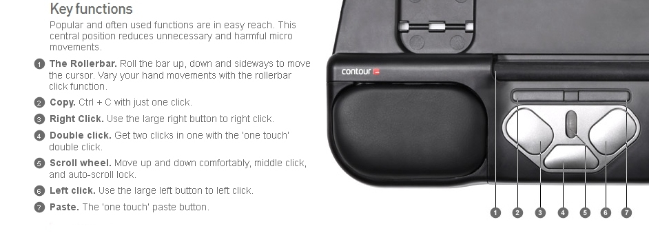 Roller Mouse Pro 2 Button Information from KOS Ergonomic Solutions