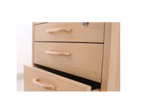 Low Desk Mobile Pedestal 4 Drawer Veneer Lock Top 2 Drawer